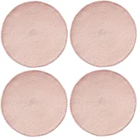 Round Placemats for Dining Table Set of 4, Size in 15 inches Diameter. Circular Place mat with pom poms Trim (Blush Pink…