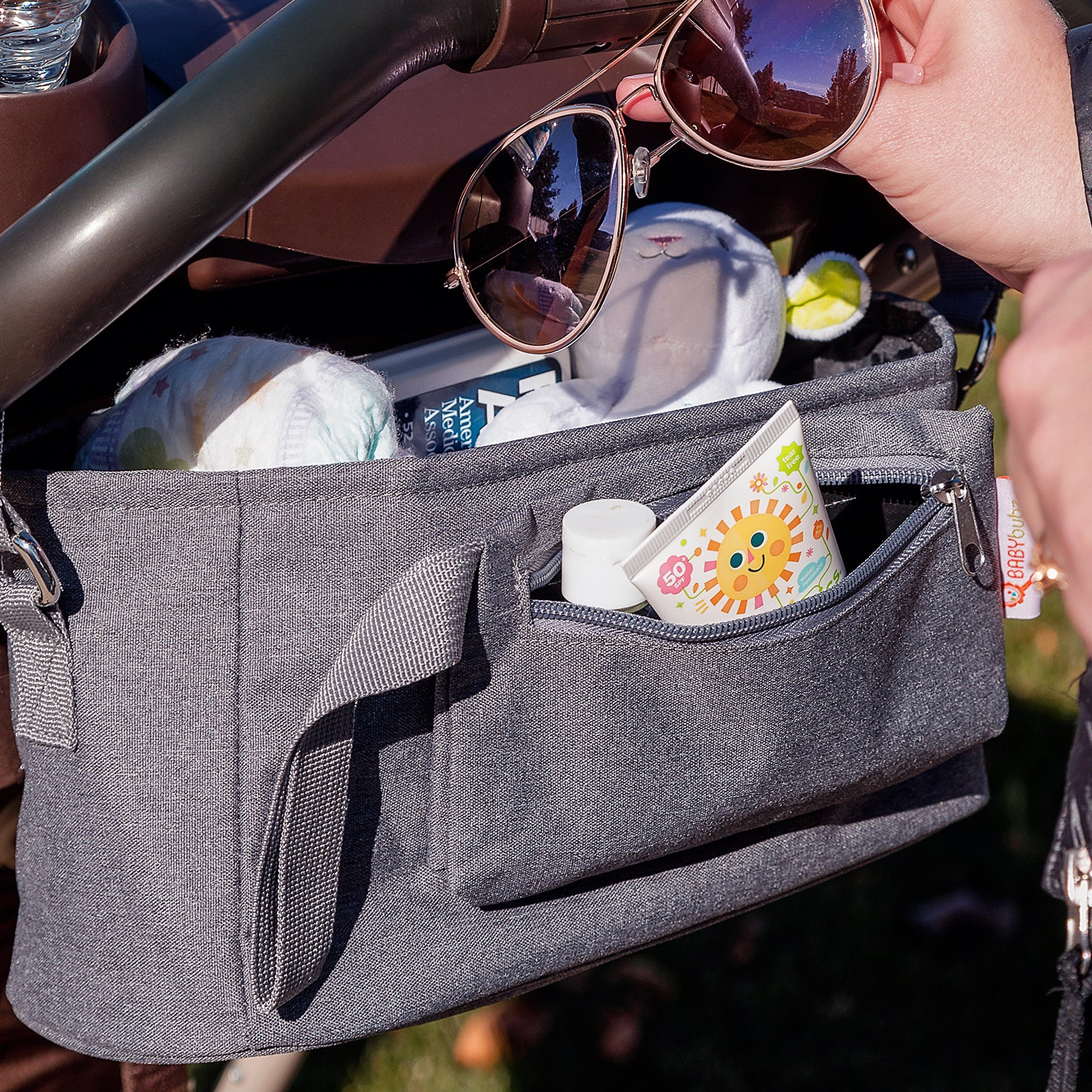 Baby Stroller Organizer by BabyBubz - Premium New Sleek Design - Durable Cup Holders - Universal Fit - tons of Storage for Phones, Keys, Diapers, Baby Toys, Snacks, Accessories - Best Shower Gift by BabyBubz (Image #9)