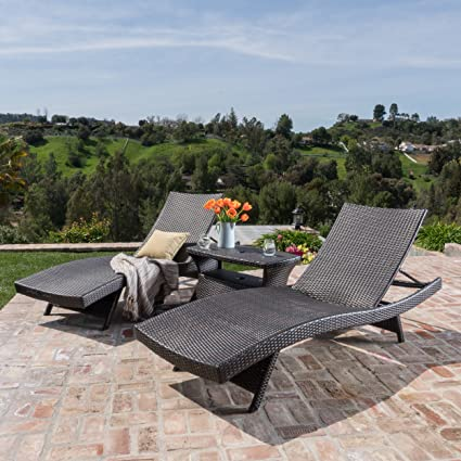 Image Unavailable - Amazon.com: Pacific Outdoor 3 Piece Mutlibrown Wicker Chaise Lounge
