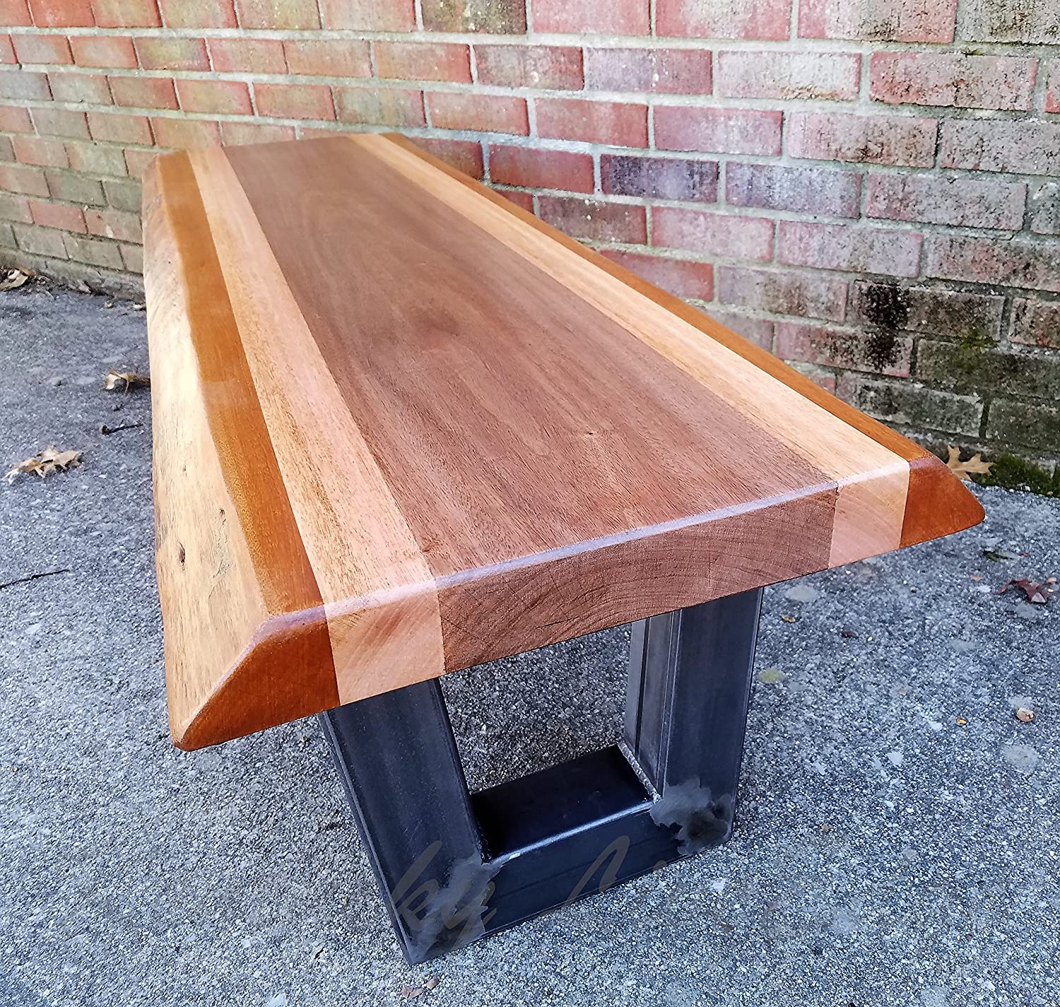 - Amazon.com: Live Edge Mahogany Coffee Table- Live Edge Bench- Steel Legs-  Industrial- Modern- Rustic- Stripes- Natural Wood- Furniture- Brown And  Tan: Handmade
