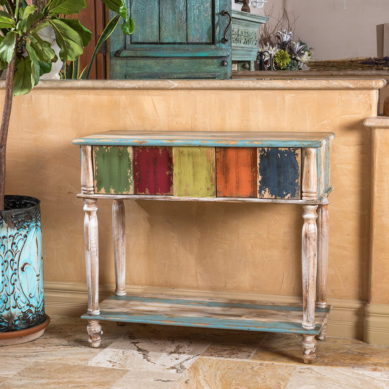 amazoncom leo solid wood 2 drawer console table in antique weathered multicolor style kitchen u0026 dining