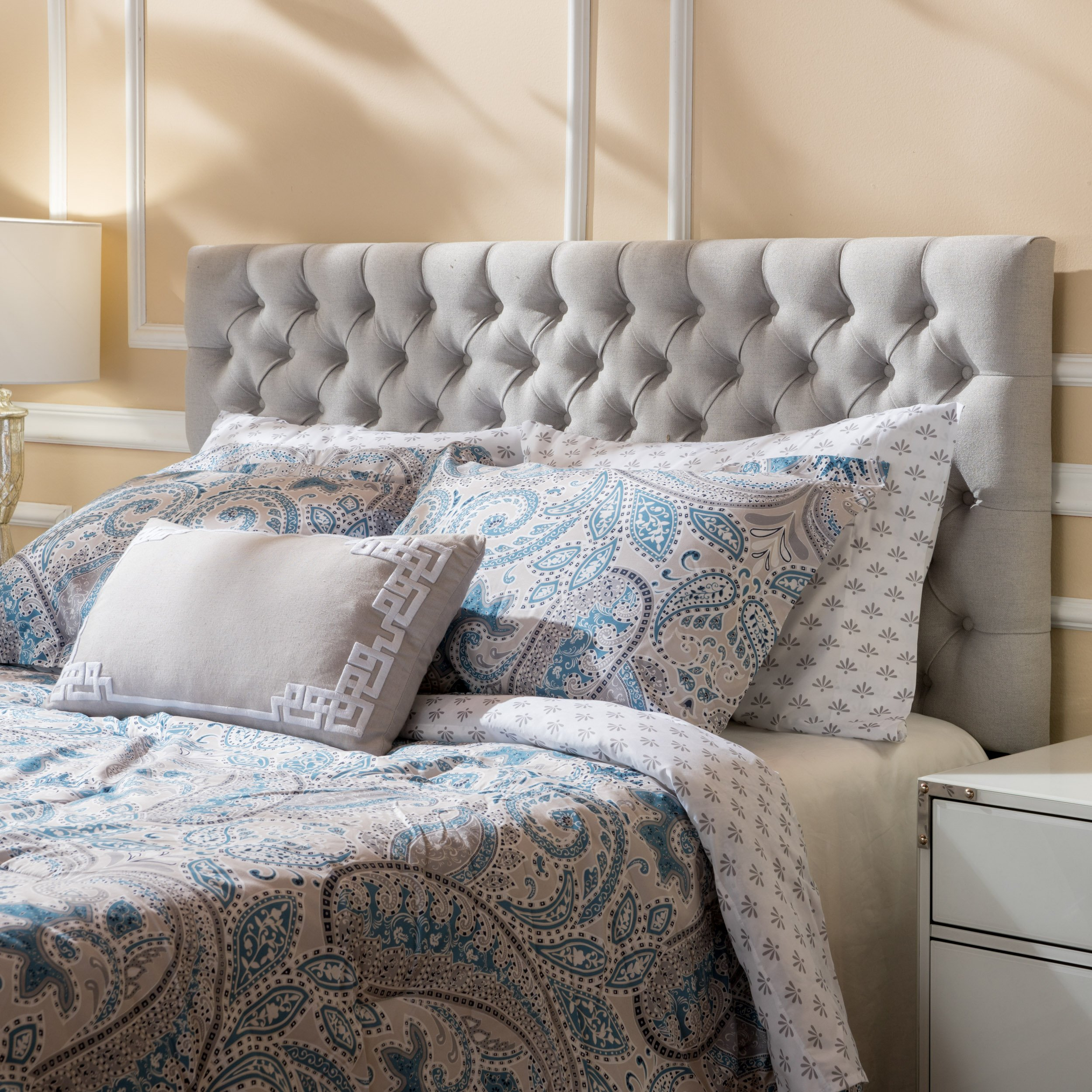 Jezebel Light Grey Fabric Queen/Full Headboard by Christopher Knight Home by Christopher Knight Home