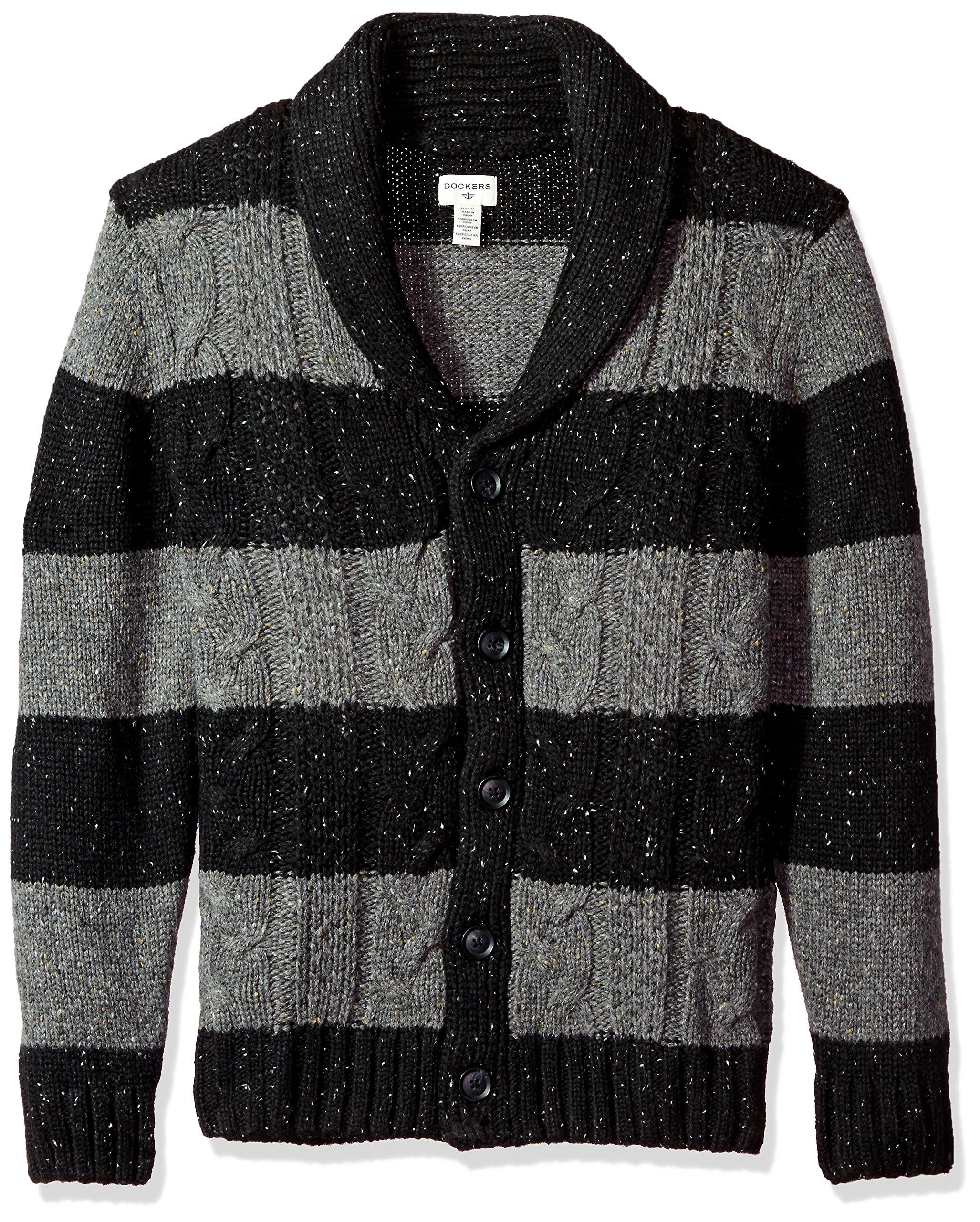 Dockers Men's Big and Tall Shawl Collar Button Front Cardigan, Black, Medium