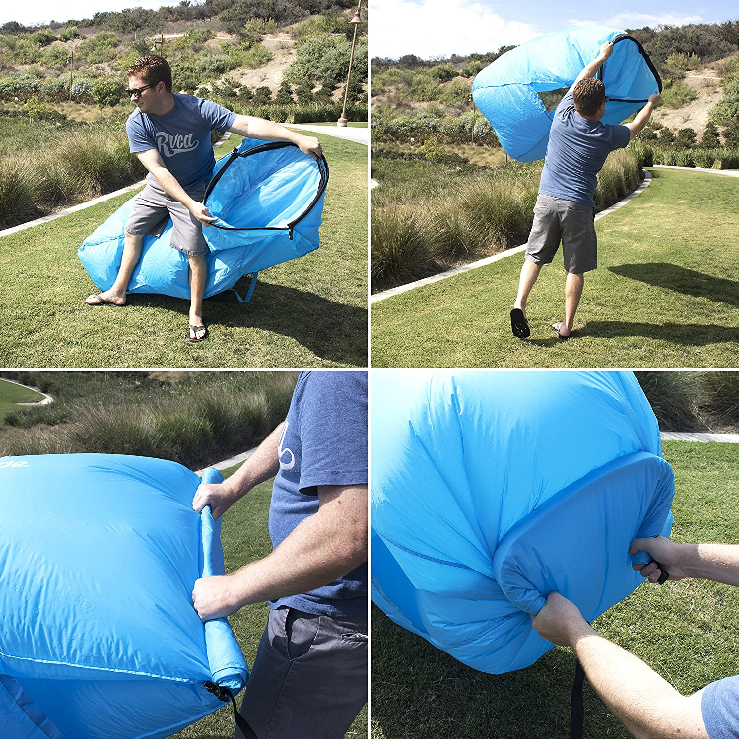 and Storage Pockets Coral Ground Stakes CleverMade Inflatable Lounger: Lightweight Recliner Style Portable Outdoor Beach Chair with Carry Bag