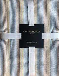 Cynthia Rowley Tablecloth Striped Pattern in Shades of Brown, Blue and Tan on Cream, 60 Inches x 84 Inches