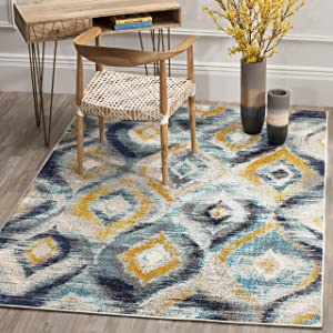 Safavieh Monaco Collection MNC242J Modern Geometric Ogee Watercolor Blue and Multi Distressed Area Rug (3' x 5')