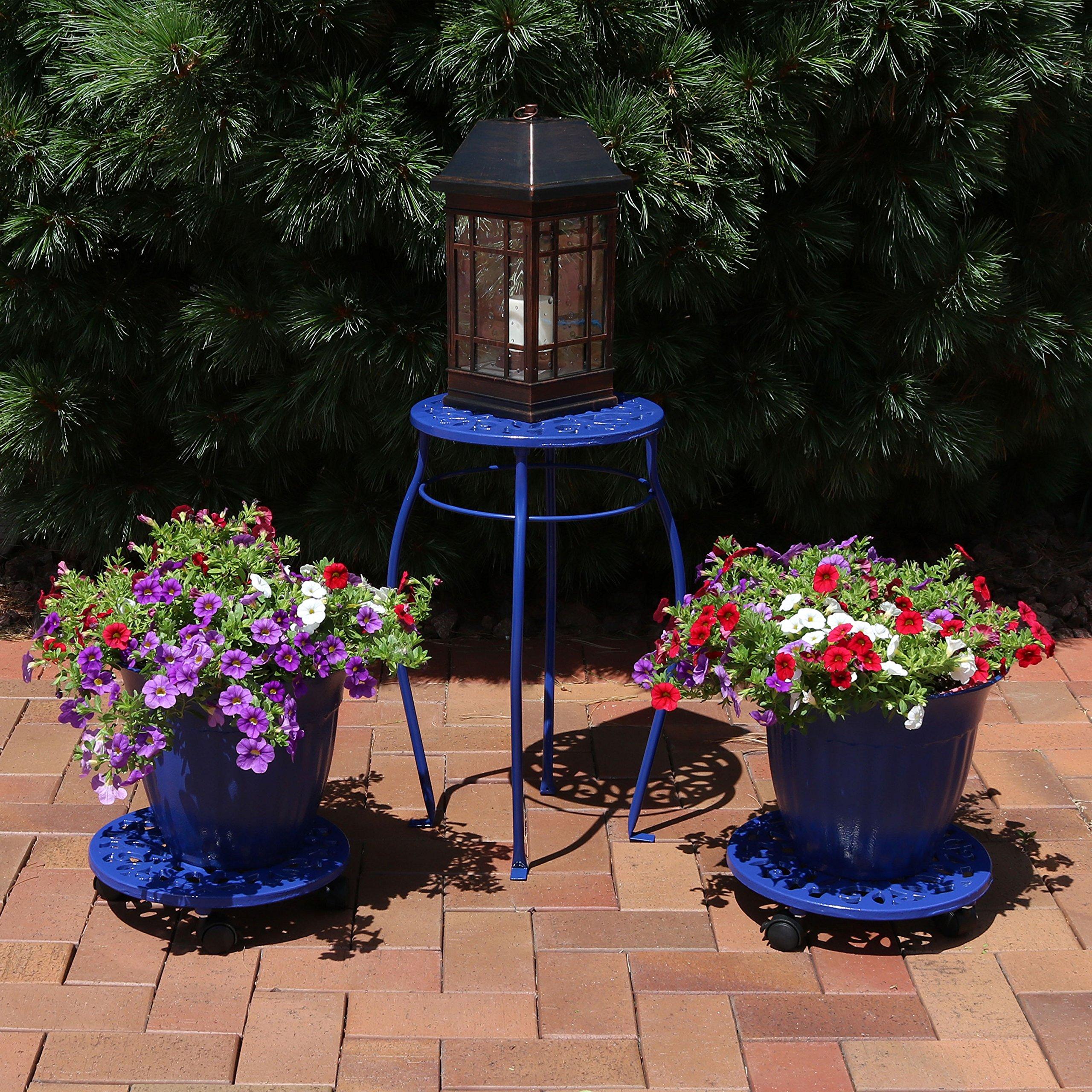 Sunnydaze 5-Piece Cast Iron Planter, Caddy and Plant Stand Set, Dark Blue by Sunnydaze Decor