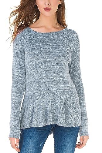 Jusfitsu Mujer suéter de punto asimétrico de manga larga cuello redondo suéter de punto hecho punto ...