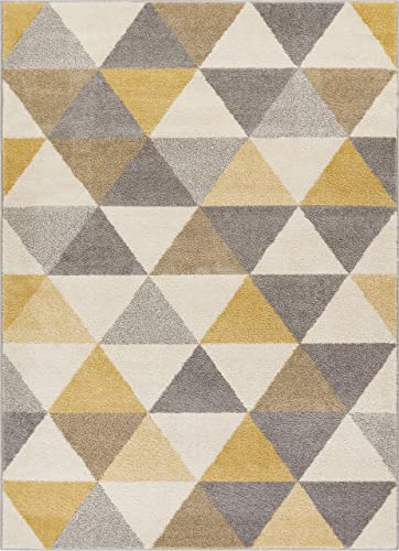 Well Woven Isometry Gold Grey Modern Geometric Triangle Pattern 9×13 9'3″ x 12'3″ Area Rug