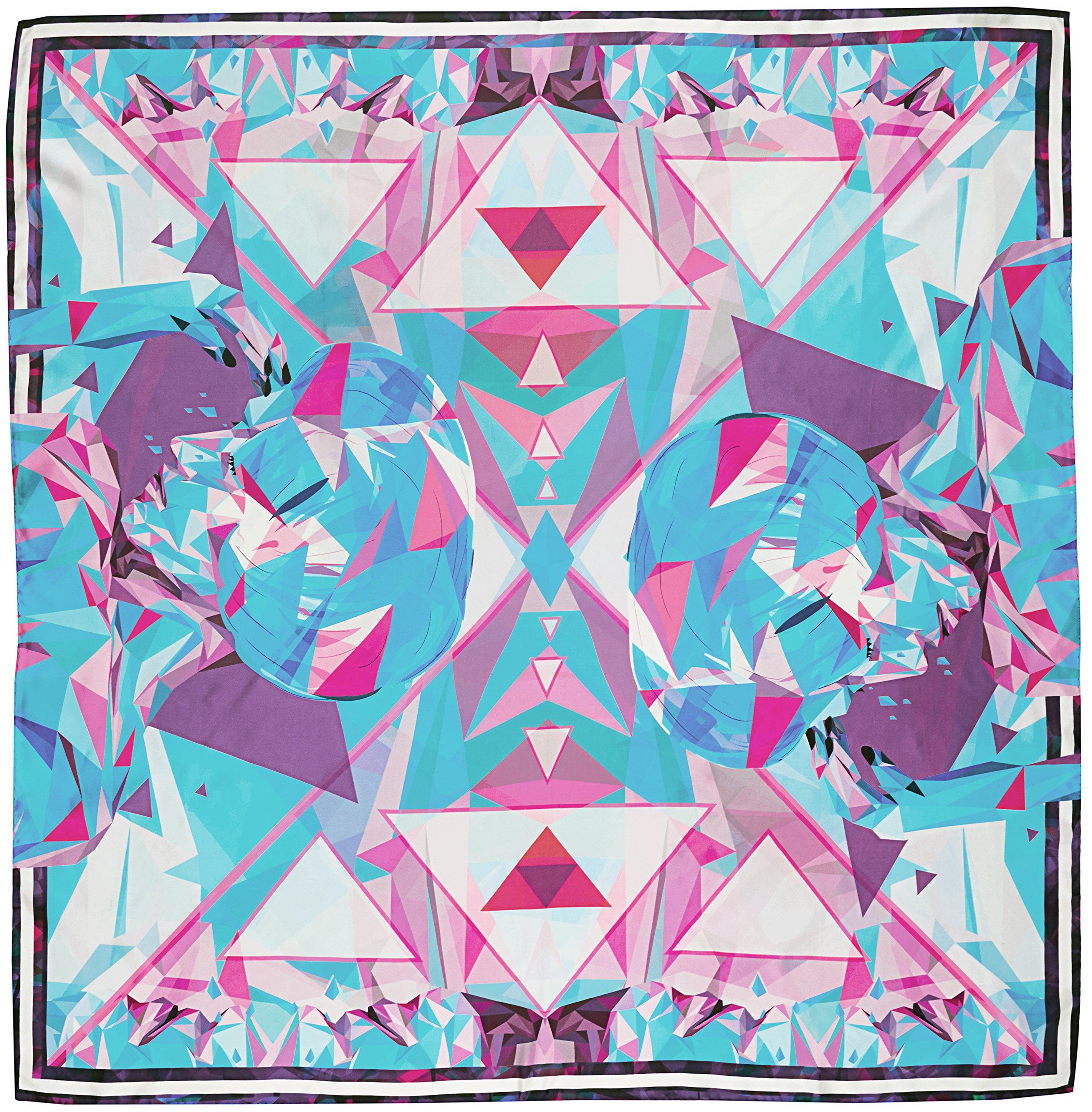 R. Culturi Handmade in Italy Silk Twill Luxury Artwork Scarf Shawl (Blue/White) by R. Culturi