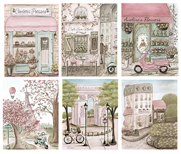 Paris Bedroom Decor Shabby Chic Nursery Prints Personalized Girls Room Art  Set Of 6 Prints