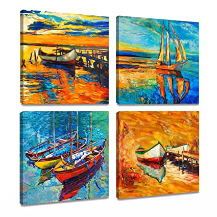 Amazon.com: ArtKisser Original Modern Abstract Landscape Sailing ...