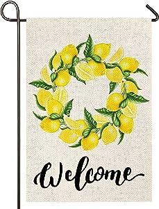 Atenia Burlap Garden Flag, Welcome Lemon Double Sided Garden Outdoor Yard Flags for Summer Decor (Lemon)