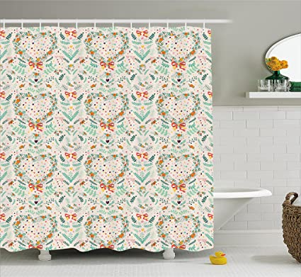 Ambesonne Shabby Chic Shower Curtain Vintage Country Style Kitsch Ornaments With Heart Flowers Ribbon Illustration