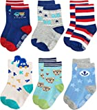 Deluxe RB-71317 Non Skid Anti Slip Slipper Cotton Crew Socks With Grips For Baby Toddler Boys