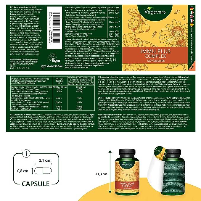 Suplemento Para Resfriado Vegavero® | 100% Vegetal | Equinácea + Vitamina C + Jengibre + Vitamina D3 + Zinc + Selenio | 120 Cápsulas | Sin Aditivos | ...