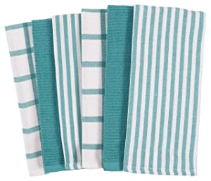 KAF Home Mixed Flat & Terry Kitchen Towels | Set of 6 18 x 28 Inches | 4 Flat Weave Towels for Cooking and Drying Dishes and 2 Terry Towels, for House Cleaning and Tackling Messes and Spills (Teal)