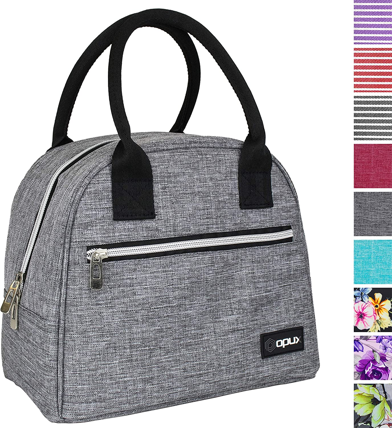 OPUX Lunch Box for Women | Insulated Lunch Bags for Women, Girls, Teens | Cute Lunch Tote Purse Cooler for School, Work, Office, Adult | Fits 12 Cans (Heather Gray)