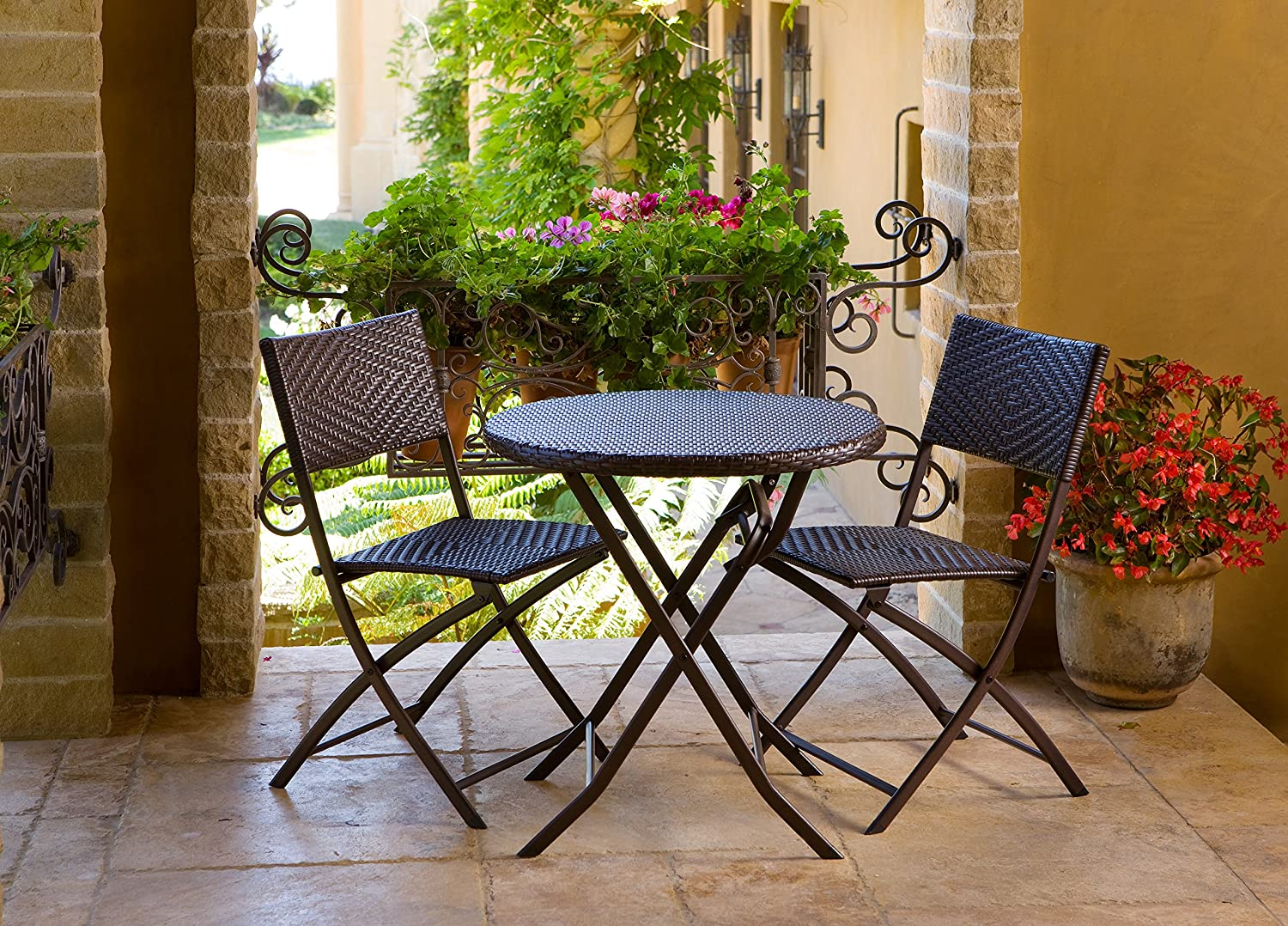 amazoncom rst brands bistro patio furniture 3piece outdoor and patio furniture sets patio lawn u0026 garden