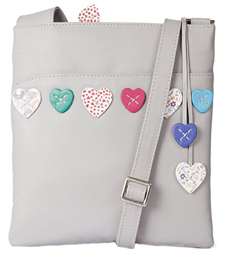 be73f9d8390 Mala leather LUCY crossbody messenger bag 731 30 soft leather ladies hearts  GREY