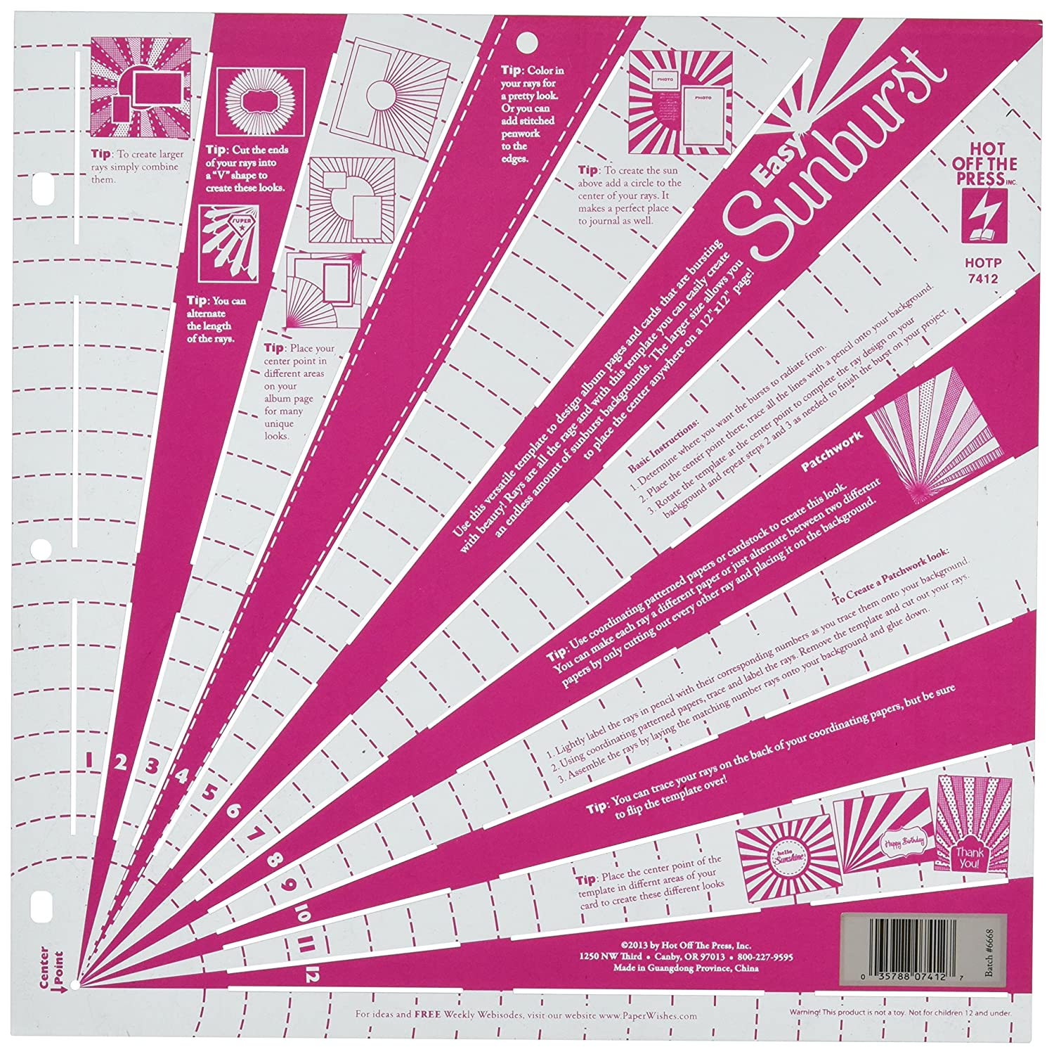 Hot Off The Press Template, 12-Inch by 12-Inch, Easy Sunburst 304060