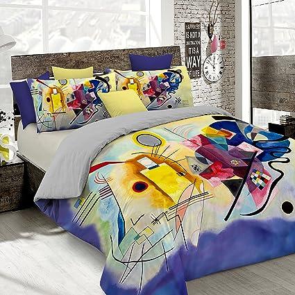 brand new 88a6e 94319 Italian Bed Linen Parure Copripiumino con Stampa Digitale a Copertura  Totale Sul Sacco e Sulle Federe 2 Posti 100% Cotone, Multicolore (SD57), ...