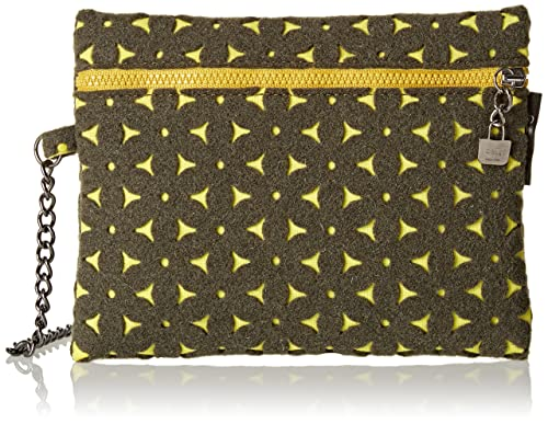 O bag - Feltro, Carteras de mano Mujer, Multicolore (Verde/giallo)