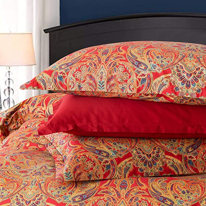 Classical Paisley Duvet Cover 3pc Set Bohemian Bedding Boteh Damask Medallion 400tc Egyptian Cotton Sateen Luxury European Traditional Style Bed Linen Red Gold King Home Kitchen Amazon Com