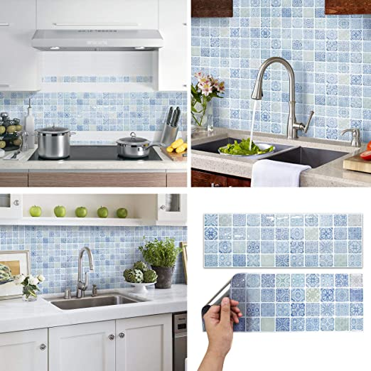Amazon Com Beaustile Decorative Tile Stickers Peel And Stick Backsplash Fire Retardant Tile Sheet 2 Chateaux2 Home Kitchen