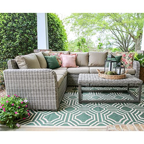 Leisure Made 5 Piece Forsyth Wicker Sectional