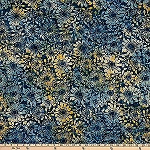 Benartex Bali Eden Batik Flowerbed Indigo Fabric by the Yard