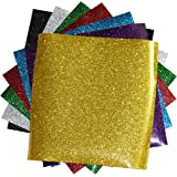 "SpotDeals4u GLITTER Heat Transfer Vinyl for T Shirts garments bags and other fabrics-7 Glitter Sheets 9.8"" X 9.8"" - Assorted colors - Black,Silver,Red,Green,Gold,Purple and Aqua-Iron on Vinyl"