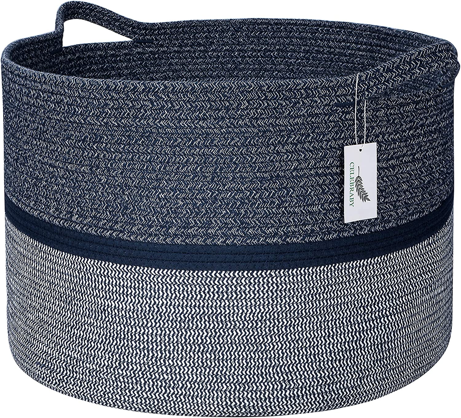 Celebraby Extra Large Cotton Rope Basket - 22 x 22 x 14 Woven Storage Baskets for Blanket, Nursery, Living Room, Baby & Kids Toys, Home Decor – Navy Blue Natural & Soft Laundry Hamper with Sturdy Handles