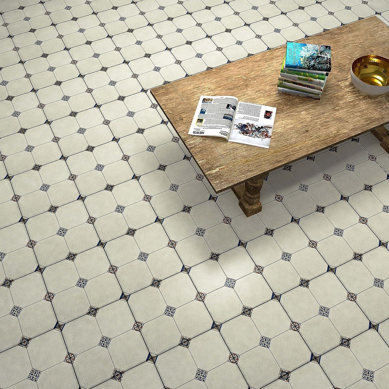 13.125 x 13.125 Cream//Blue//Orange//Black//Green//White 13.125 x 13.125 SomerTile FEM13MNB Maises Ceramic Floor and Wall Tile