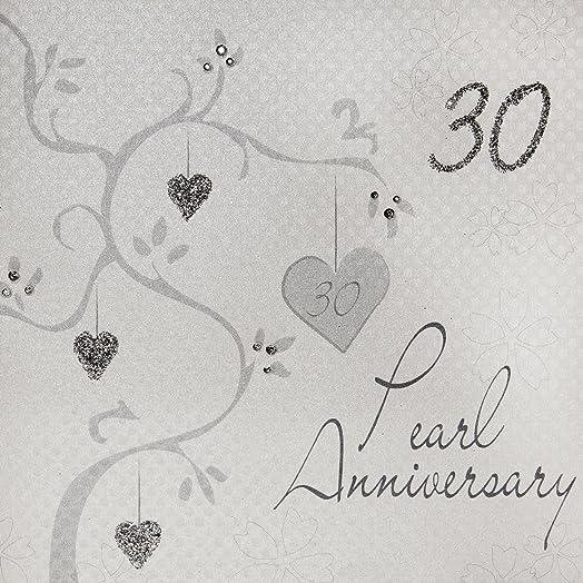 White Cotton Cards QuotPearl Wedding AnniversaryHandmade 30th Anniversaryquot