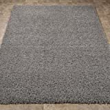 """Ottomanson Soft Cozy Solid Color Shag Rug Contemporary Living and Bedroom Kids Soft Shaggy Area Rug(5'0"""" X 7'0"""", Grey)"""
