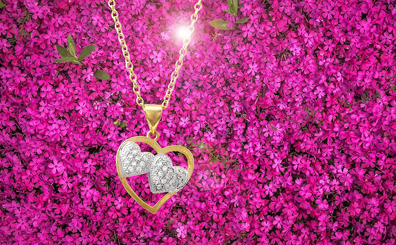 Ivy and Max Two-Tone Finish White Cubic Zirconia Double Heart Pendant Necklace 18+2 Extender