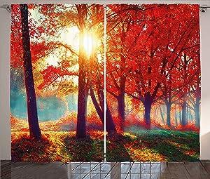 "Ambesonne Tree Curtains, Autumnal Foggy Park Fall Nature Scenic Scenery Maple Trees Sunbeams Woods, Living Room Bedroom Window Drapes 2 Panel Set, 108"" X 90"", Orange Yellow"