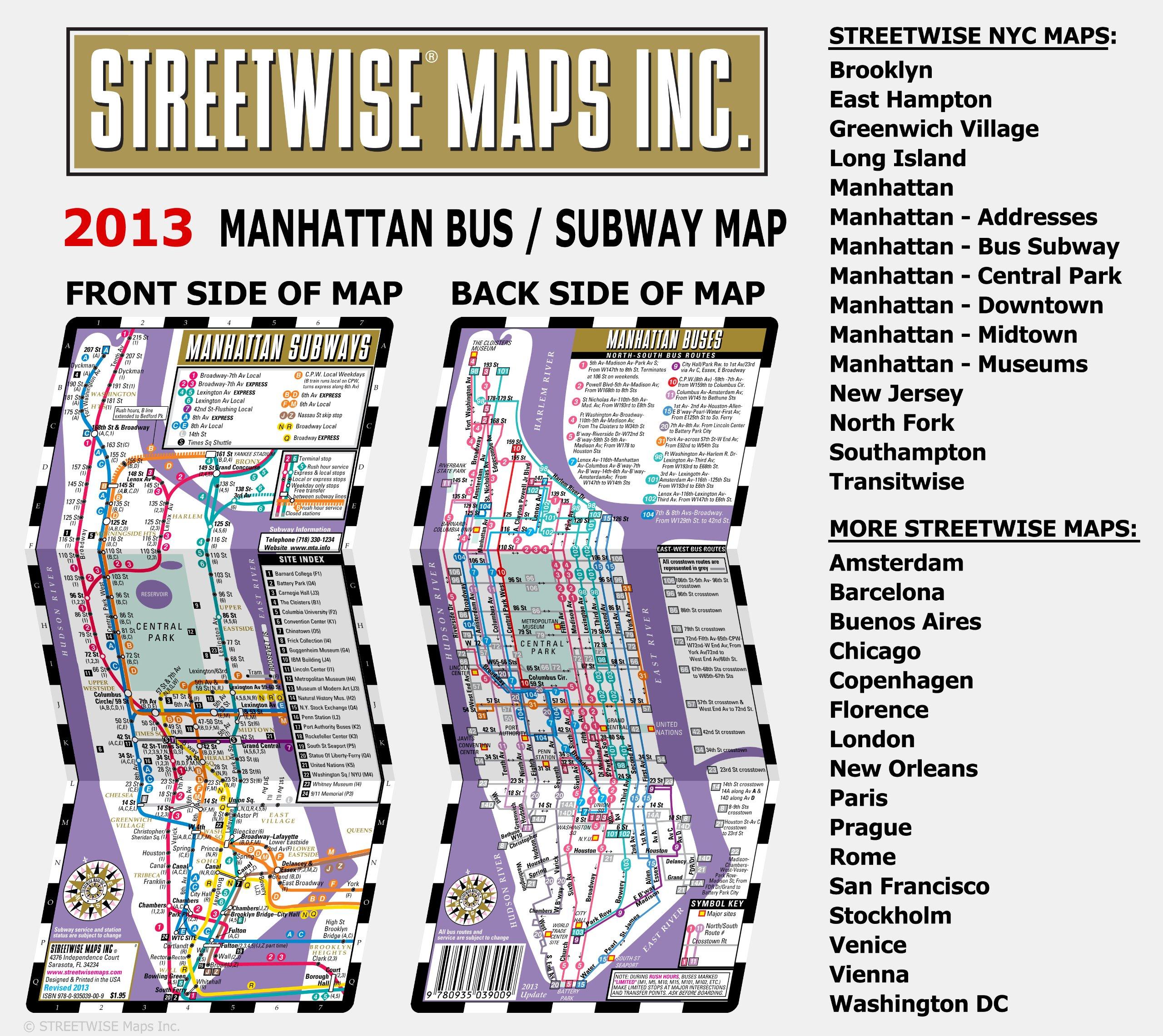 Nyc Subway Map Upper Manhattan.Streetwise Manhattan Bus Subway Map Laminated Subway Map Of New