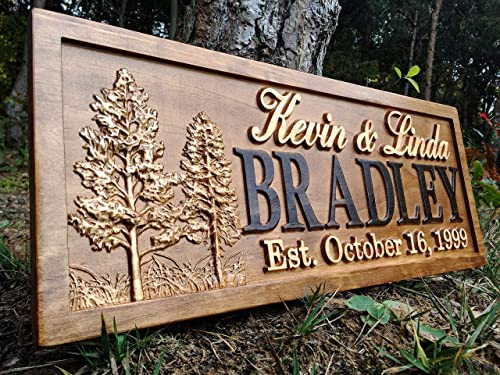 Rustic Wedding Signs Wood Wall Art Personalized Couples Gift Ideas Family Last Name Custom Name Sign Lakehouse Hunting Lodge Home Decor Tree Carved