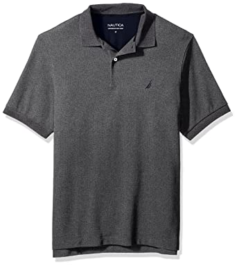 b0fe532d Nautica Men's Big and Tall Short Sleeve Solid Deck Polo Shirt, Charcoal  Heather, ...