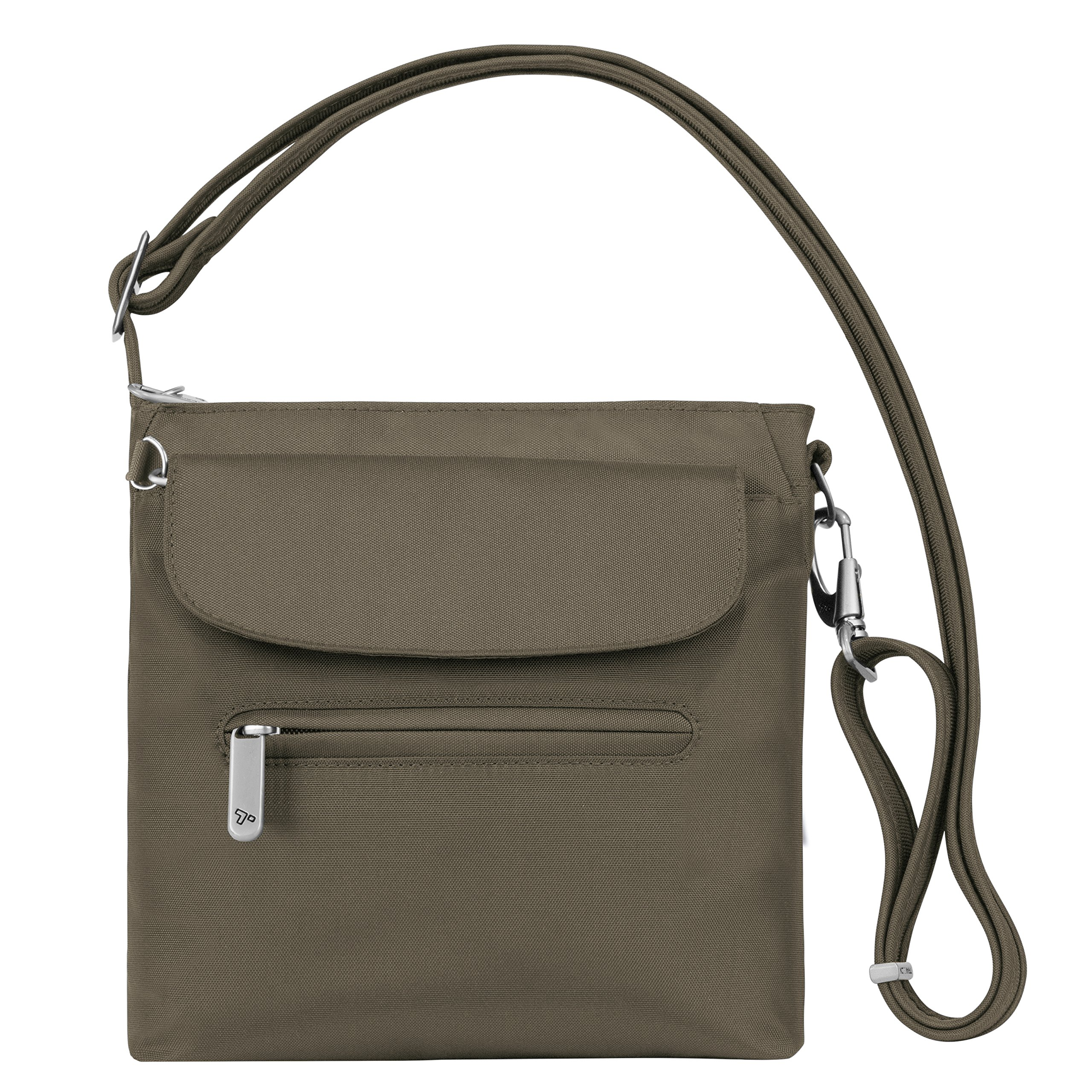 Travelon Women's Anti-theft Classic Mini Shoulder Bag Sling Tote, Nutmeg