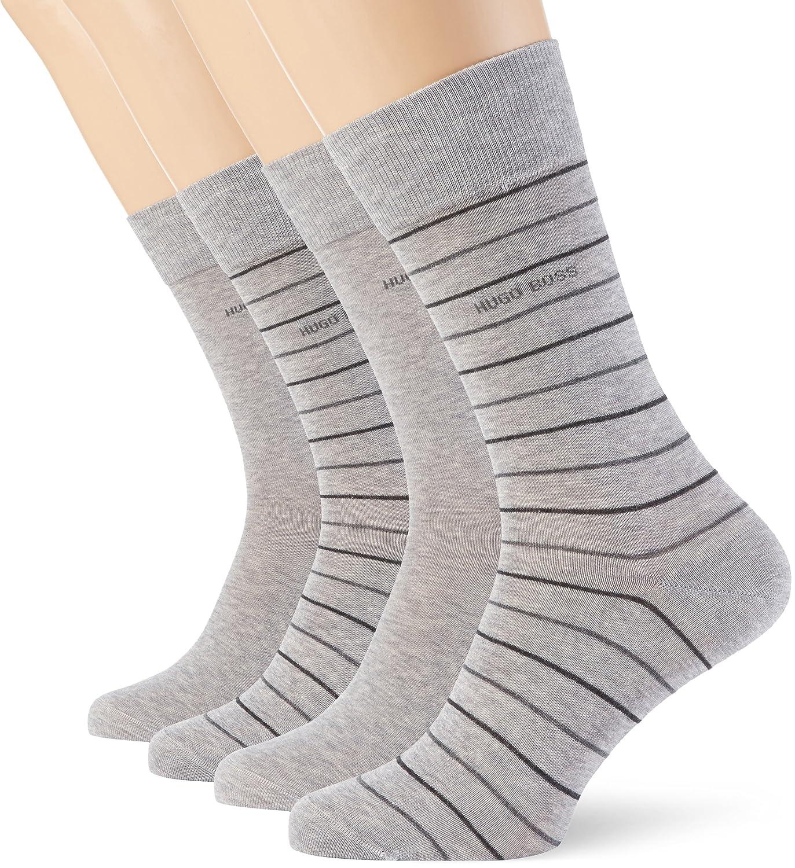 Mens 2 Pair Hugo Boss Fine Striped and Plain Mercerised Cotton Socks Silver 8.5-11 50310460