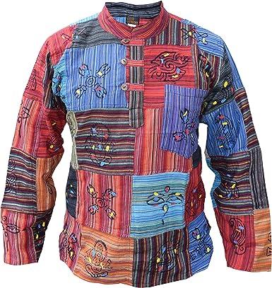 Little Kathmandu Camisa para hombre, tipo patchwork, estilo hippie, con símbolos estampados: Amazon.es: Ropa y accesorios