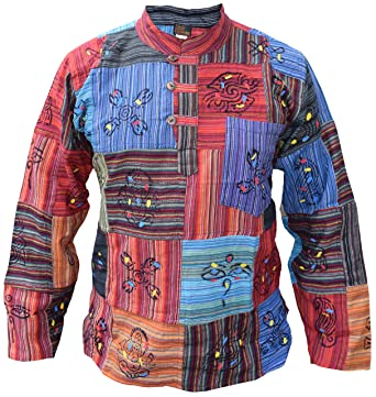 a81e68b26ab3c8 Little Kathmandu Patchwork Hippy Boho Grandad Collarless Shirt at Amazon  Men s Clothing store