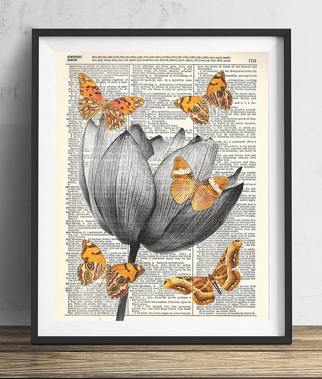 Amazon Lotus Flower With Butterflies Dictionary Art Print 8x10