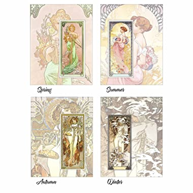 ArtDash® Brand Premium Art Nouveau Reproductions: THE FOUR SEASONS ~ Set of 4 Easy-to-Frame 8 ×10  Prints (AN086) by Alphonse Mucha