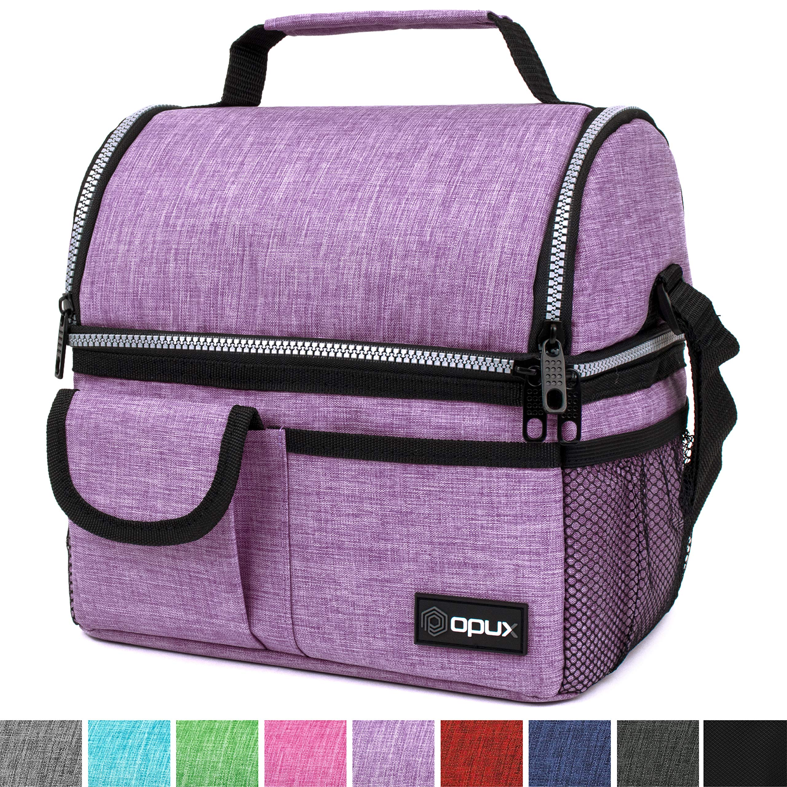 OPUX Insulated Dual Compartment Lunch Bag for Women | Double Deck Reusable Lunch Pail Cooler Bag with Shoulder Strap, Soft Leakproof Liner | Large Lunch Box Tote for Work, School (Purple) by OPUX