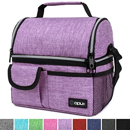 5d03a0b77009 OPUX Insulated Dual Compartment Lunch Bag for Women | Double Deck Reusable  Lunch Pail Cooler Bag with Shoulder Strap, Soft Leakproof Liner | Large ...