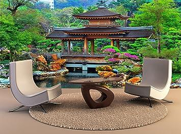 tapices de pared Pared Jardín Zen chino Pagoda Decoración Artística Foto Póster Papel tapiz de alta calidad de impresión de: Amazon.es: Bricolaje y herramientas